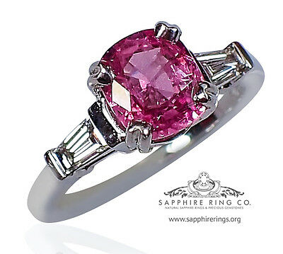 GIA Certified 14KT W/Gold 1.99 tcw Pink Cushion Natural Sapphire & Diamond Ring