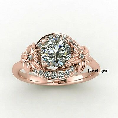 1.40 ct Off White Moissanite Rose Gold Floral Design Engagement 925 Silver Ring