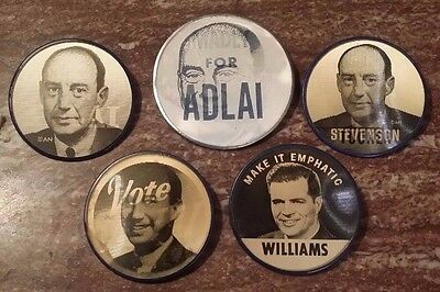 "Adlai Stevenson: Five Different ""Flasher"" Buttons"