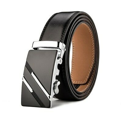 XHTang Fashion Mens Automatic Buckle Real Leather Ratchet Belt Waistband Jeans