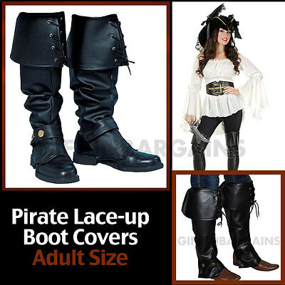 Boot Tops Pirate Costume Black Adult Women's Female Wench Buccaneer Shoe Covers