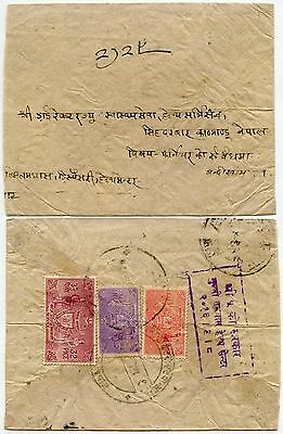 INDIA 1940s OFFICIALS 3 COL.USED on NATIVE COVER + PMKS