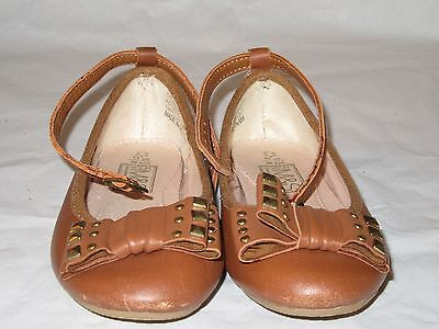 Marks & Spencer Girls Tan Leather Shoes  Size 11 Studded Bow & Ankle Strap