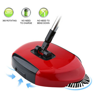 360° Spinning Hand Push Sweeper Automatic Household Clean Broom No Electricity