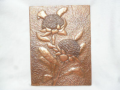 LARGE WARATAH WALL PLAQUE - EMBOSSED COPPER - Good condition