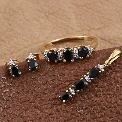 AA Black Sapphire Ring, Earrings, Pendant & Chain 925 Sterling Silver.