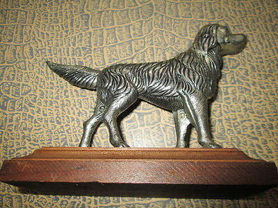 """Beautiful antique cast metal spelter Hunting dog on wood"""" Pointer""""/France"""