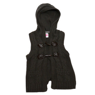 Girls Dark Grey Charcoal Cable Knit Vest Hoodie *Size 7