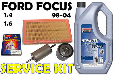 Ford Focus mk1 1.4 1.6 Oil Air Fuel Filters Spark Plugs 5w30 Service Kit 98-04