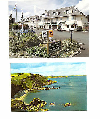 2 X Vintage Cornwall Cliff Head Hotel Carlyon Bay & Mevagissey Penare Point