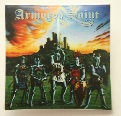 ARMORED SAINT March Of The Saint Original VTG Square Badge 40mm (not patch)MA013