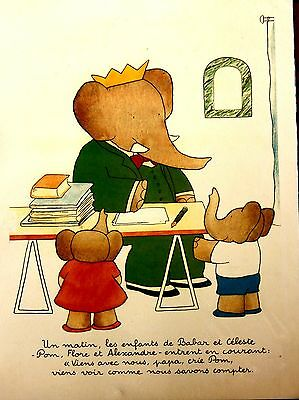 Vintage Babar the Elephant Poster  30 x 40 cms  French Bought in French Brocante
