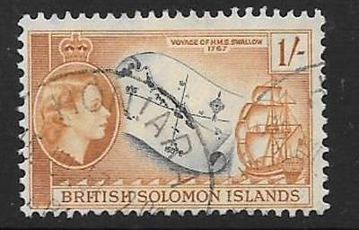 British Solomon Is. Sg91 1956 1/- Slate & Yellow Brown Fine Used