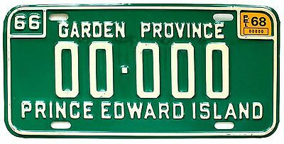 Prince Edward Island PEI Canada 1966 1968 SAMPLE License Plate 00-000