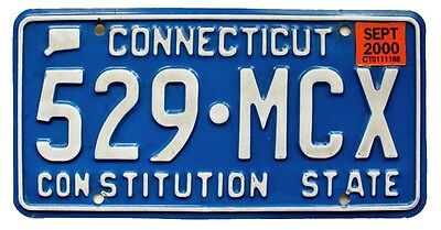"Connecticut 2000 Blue ""Constitution State"" License Plate, 529-MCX"