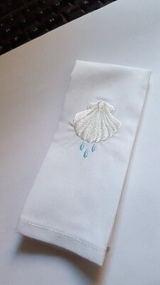 Baptism Towel with shell and water embroidered design.