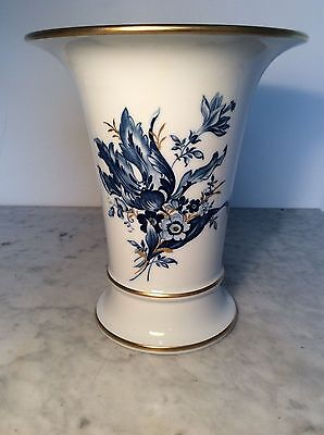Meissen Large Trumpet Vase, Blue And White Enhanced With Gilding
