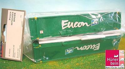 LS Models 89328 Set Of 2 45' Container EUCON green Load Freight car+TRUCK 1:87