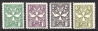 1967 MALTA POSTAGE DUE PERF12 SET/4 #J22a-J23a,J25a,J28a, VF, MINT NEVER HINGED