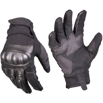 Mil-Tec Tactical Leather Gloves Gen 2 Combat Patrol Airsoft Mens Gauntlet Black