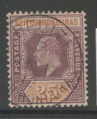 BRITISH HONDURAS SG89 1907 25c DULL PURPLE & ORANGE FINE USED