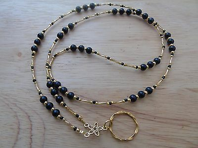 Handmade Beaded Spectacle / Glasses Chain Holder / Necklace. Gold Black Coloured
