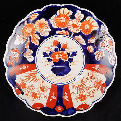 Antique Imari (Japanese Arita) scalloped dish (Meiji period - 19th cent) 9 1/2""