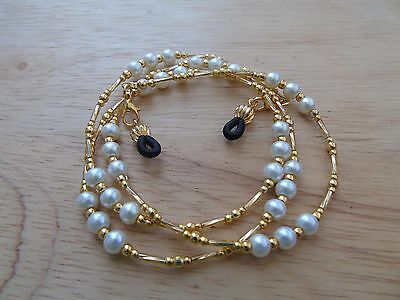 Beaded Gold Ivory Coloured Spectacle  Glasses Chain Lanyard Necklace.