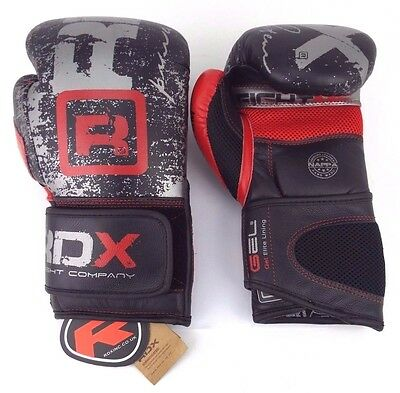 RDX Leather Boxing Gloves Fight Punching Bag MMA Sparring Kickboxing - 12oz
