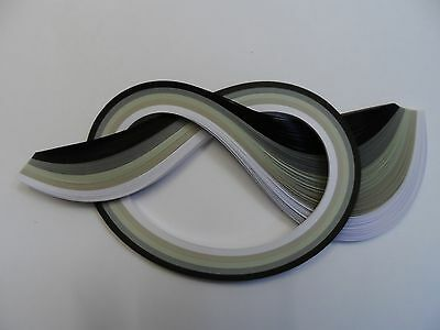 Quilling Paper 3mm  -  Black,Greys and White