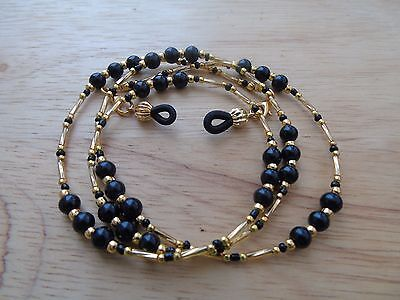 Beaded Gold Black Coloured Spectacle  Glasses Chain Lanyard Necklace.