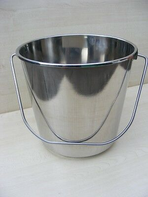 New 2 Handed Stainless Steel Food Grade 12L Bucket Pail
