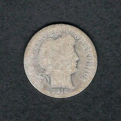 mjstampshobby 1910 US 10C Barber Dime Silver Circulated RARE (Lot1404)