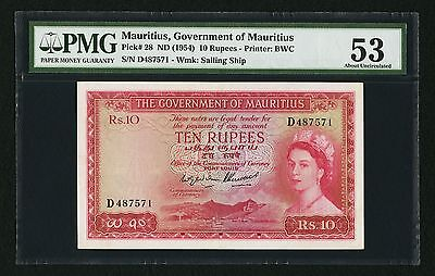 """PMG-53"" SCARCE 1954 Mauritius 10 Rupees P-28"