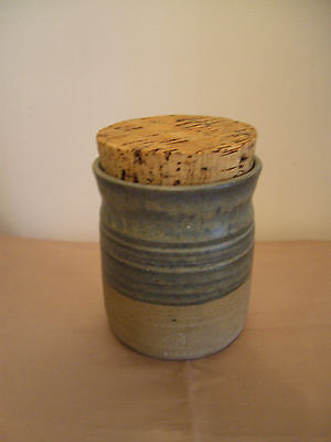 A Vintage Welsh Stoneware Pottery Jar W/cork Lid - Signed
