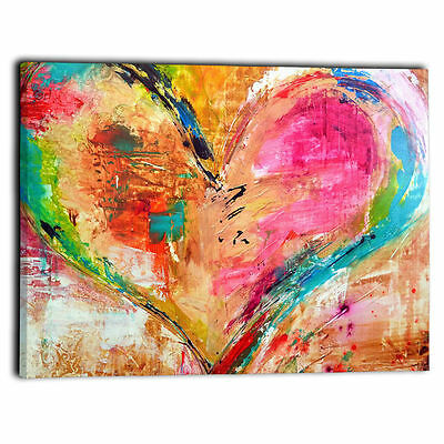 """Modern Abstract Framed Canvas Painting Print Heart Wall Art Picture 24""""x24"""""""