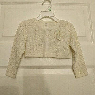 H&m Ivory And Gold Occasion Wedding Baby Bolero Flower 9-12 Months Nwt