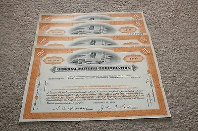 Lot of 4 Vintage 1959 General Motors Corporation Common Stock Certificates