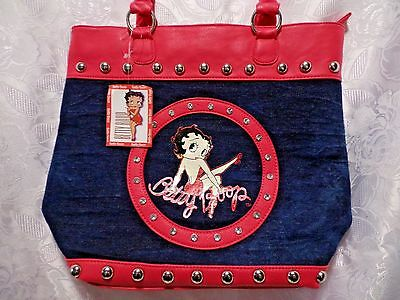 Betty Boop Tote Bag Pink & Blue Jean Studded Womens Handbag