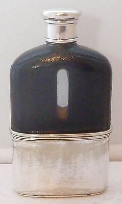 1920's Silver Plate Plated Leather Bound Glass Hip Flask Small Pocket Size