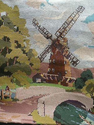 Vintage Completed Tapestry Picture Cushion Panel The Windmill