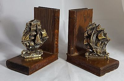 Pair of Beautiful Wood and Brass Ship Themed Book ends (Height - 13 cm)