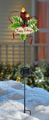 Solar Lighted Christmas Candle Happy Holidays Garden Yard Stake