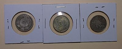 Japan - Lot of 3 Silver Coins - 100 yen and 50 Sen