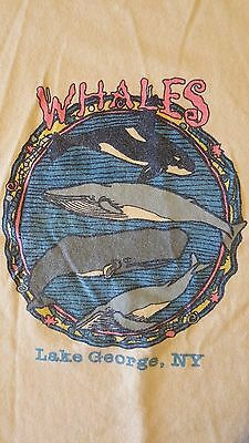 Vintage 80s Youth Kids XL Whales Lake George New York T-Shirt Summer Vacation