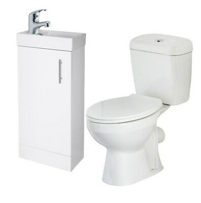 Cloakroom Suite Cube Vanity Toilet Tap Small Bathroom Set