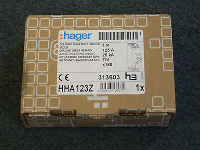 Hager HHA123Z MCCB Moulded Case Circuit Breaker X160 1P 25kA 125A