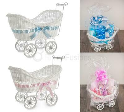 Hillington Baby Pram Hamper Wicker Basket Large Baby Shower Party Gifts Boy Girl
