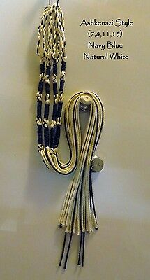Tzitzit,Tassles, Braided loop, Navy Blue/Natural White Judaica/Messianic Fringes