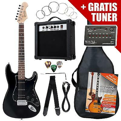 Electric Guitar Pack Amplifier Tuner Strings Gigbag Cable Strap Plectrums Black